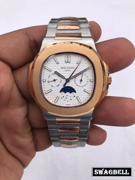 Patek Philippe Nautilus Moon Phase Dual Tone White Swiss Automatic Watch