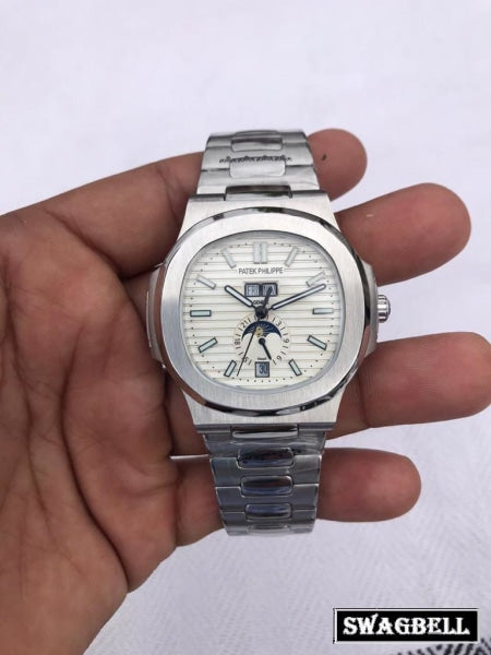 Patek Philippe Nautilus Annual Calendar Steel White Swiss Automatic Watch