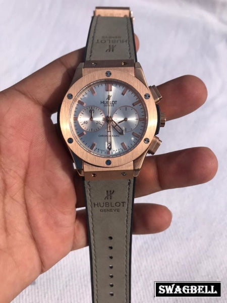 HUBLOT CLASSIC WHITE GREY STRAP WATCH