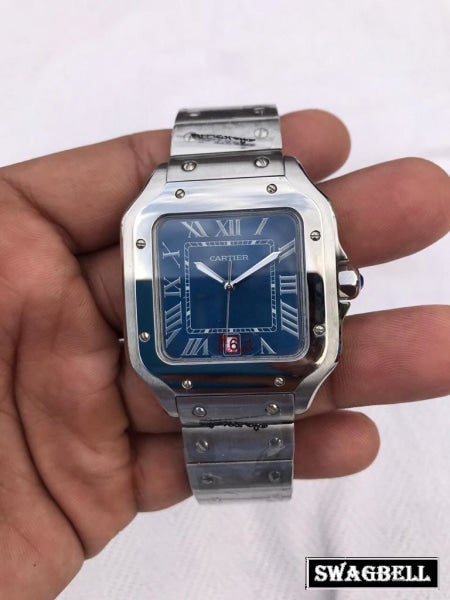 Cartier Santos 100 Blue Steel Watch