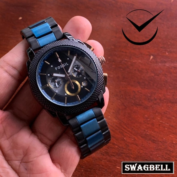 Fossil Classic Black Blue Dual Tone Mens Watch