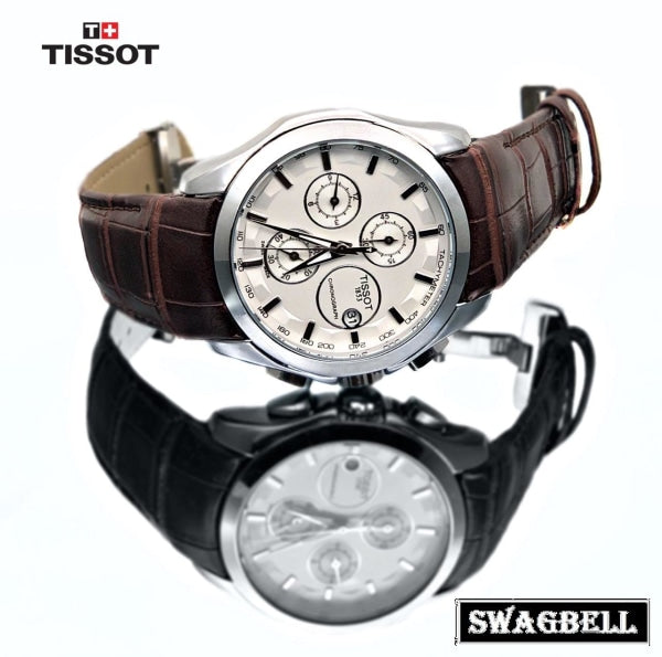 Tissot Couturier White Leather Strap Watch
