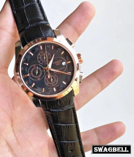 Tissot Couturier Rose Gold Black Leather Strap Watch