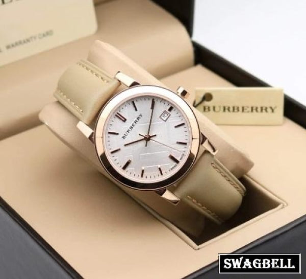 Burberry Nude Leather Strap Women Watch