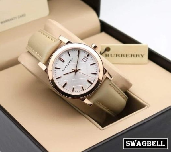 BURBERRY NUDE LEATHER STRAP WOMEN WATCH - B