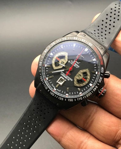 TAG HEUER GRAND CARRERA 17 BLACK RUBBER STRAP WATCH