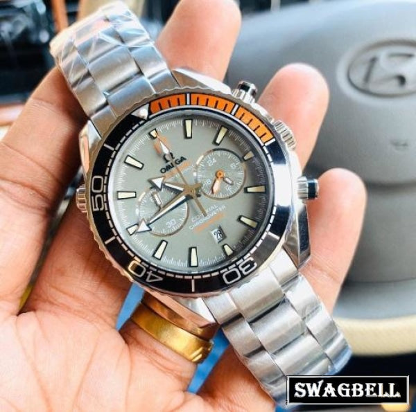 OMEGA SEMASTER BLACK ORANGE BEZEL GREY MEN'S WATCH