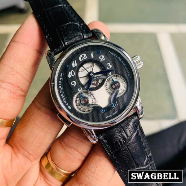 MONT BLANC NICOLAS RIEUSSEC BLACK SWISS AUTOMATIC WATCH