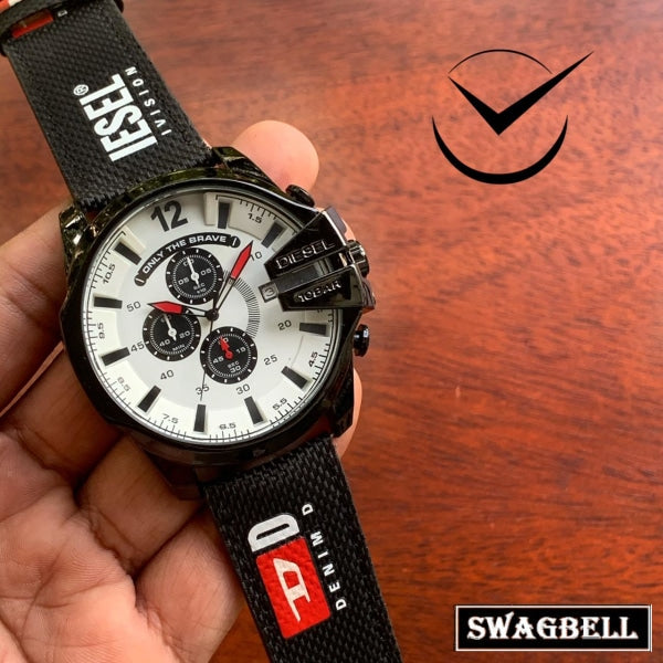 DIESEL 10 BAR BLACK STRAP WATCH