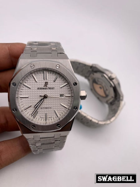 AUDEMARS PIGUET ROYAL OAK WHITE STEEL SWISS AUTOMATIC WATCH