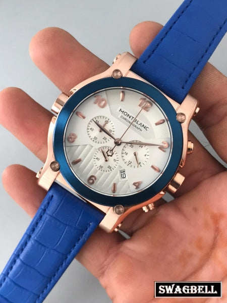 MONT BLANC CHRONOGRAPH WHITE DIAL BLUE STRAP WATCH