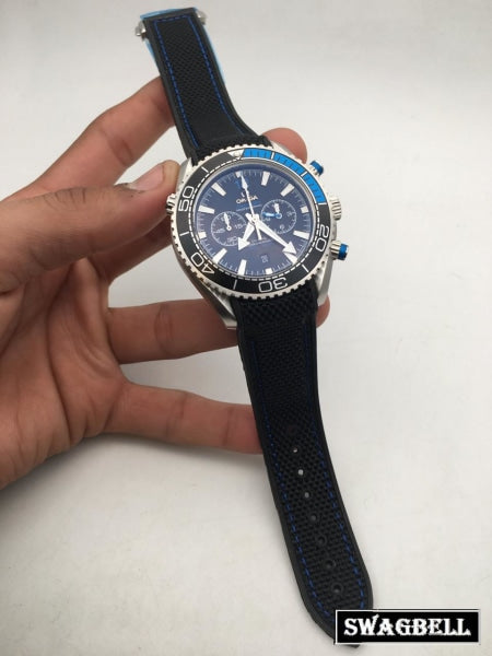 Omega Seamaster Dual Bezel Rubeer Strap Watch