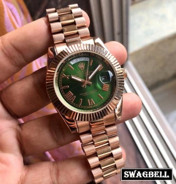 Rolex Day-Date Green Rose Gold Swiss Automatic Watch