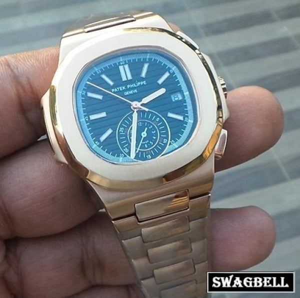 Patek Philippe Nautilus Black Dial Rose Gold Swiss Automatic Watch