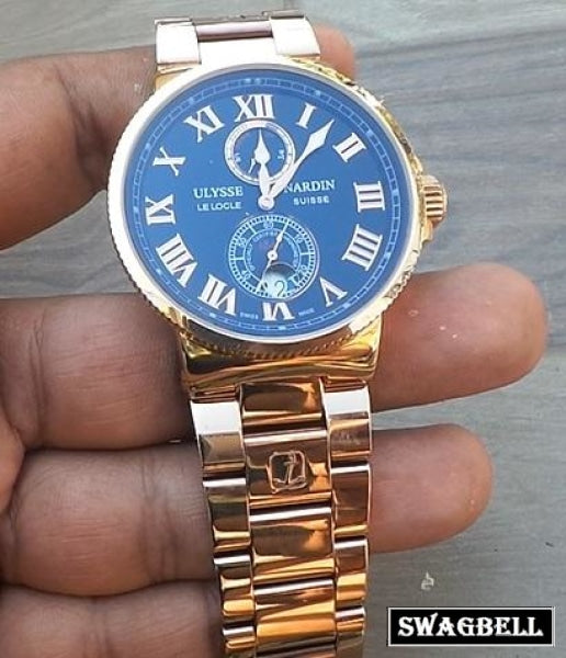ULYSSE NARDIN MAXI MARINE ROSE GOLD SWISS AUTOMATIC WATCH