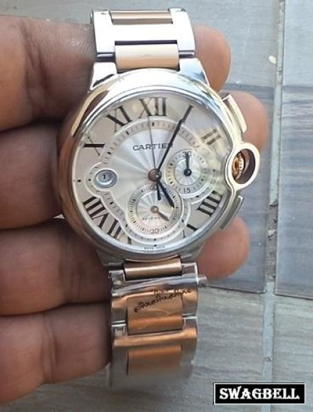 Cartier Ballon Bleu De Chronograph Dual Tone Swiss ETA Valjoux Movement Watch