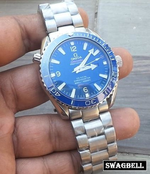 Omega Seamaster Planet Ocean Blue SWISS ETA Valjoux Movement Watch