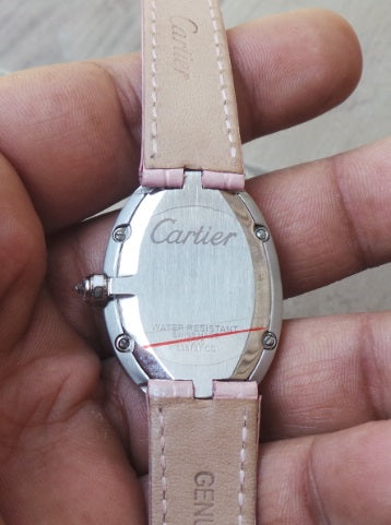 Cartier Pink Leather Strap Ladies Watch