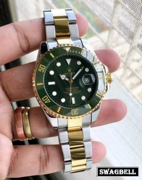 Rolex Submariner Green Dual Tone Swiss Automatic Watch