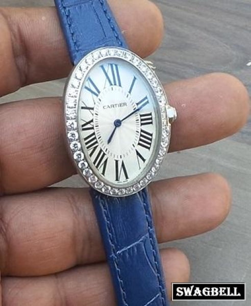 Cartier Blue Leather Strap Ladies Watch