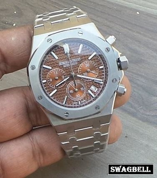 AUDEMARS PIGUET ROYAL OAK CHRONOGRAPH BROWN STEEL WATCH