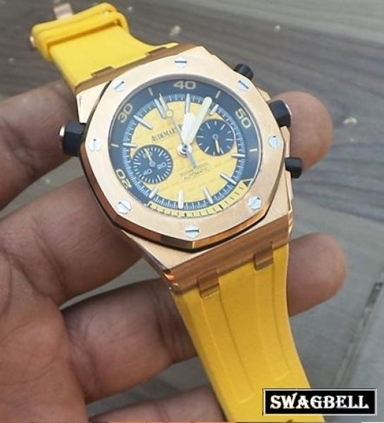 FIRST COPY AUDEMARS PIGUET DIVER ROSE GOLD YELLOW MEN'S WATCH