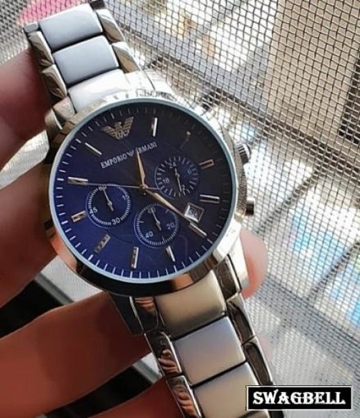 Armani Steel Blue Dial Mens Watch