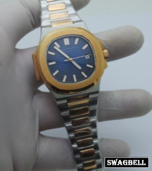 Patek Philippe Nautilus Blue Dual Tone Swiss Automatic Watch