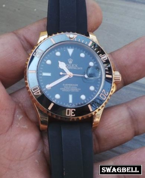 Rolex Submariner Rubber Strap Swiss Automatic Watch