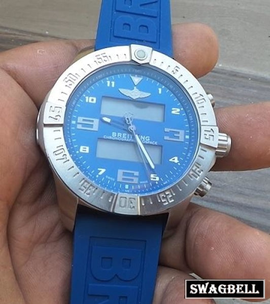Breitling Exospace White Blue Rubber Strap Watch