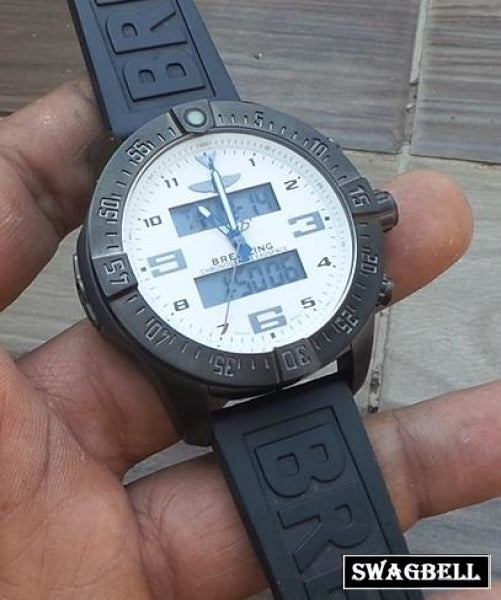 Breitling Exospace White Black Rubber Strap Watch