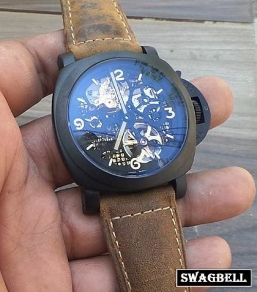 PANERAI SKELETON BLACK SWISS AUTOMATIC MEN'S WATCH 2