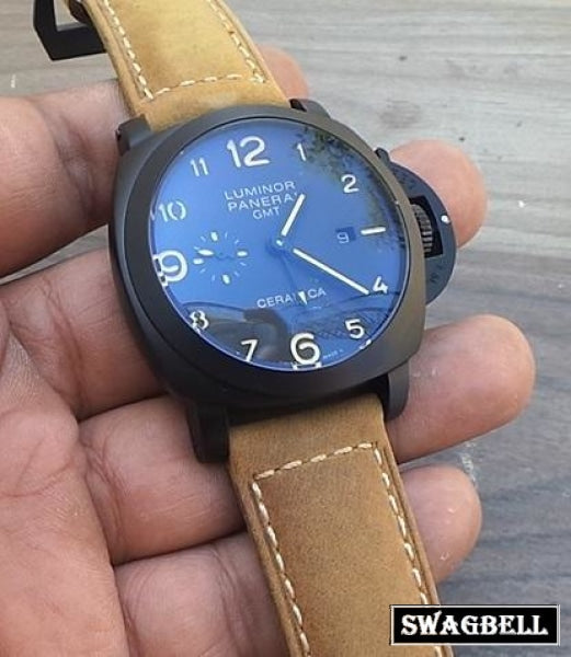 Panerai Gmt Black Carbon Swiss Automatic Mens Watch