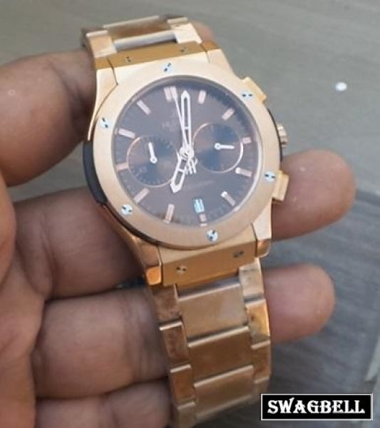 Hublot Classic Brown Rose Gold Mens Watch