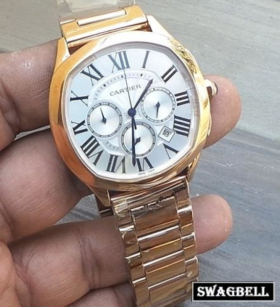 Cartier Drive De White Rose Gold Men's Watch