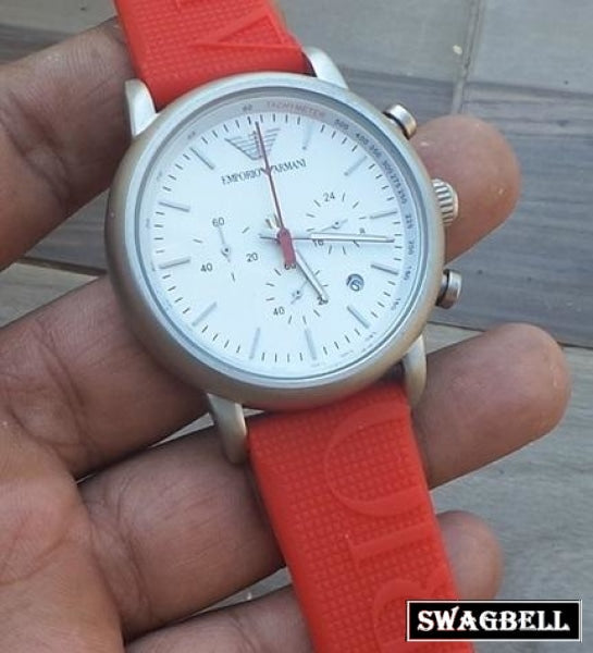 Armani Red Rubber Strap Mens Watch