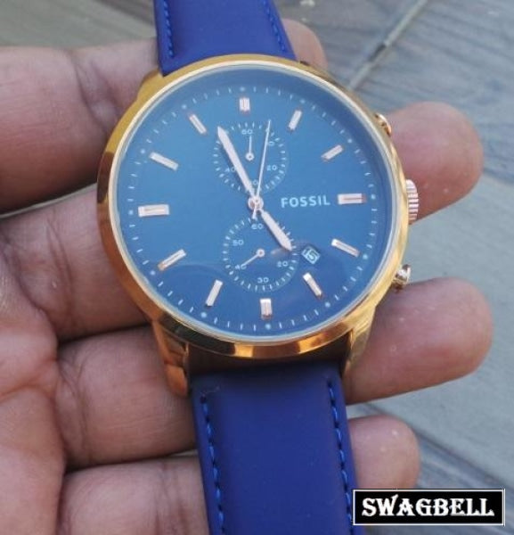 Fossil Blue Leather Strap Mens Watch