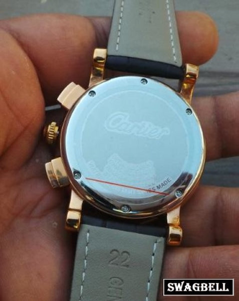 Cartier Rotonde Leather Strap Mens Watch