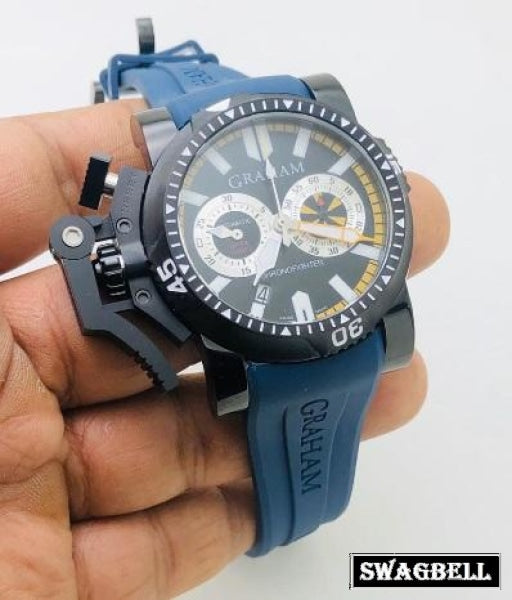Graham Chronofighter Oversize Blue Rubber Strap Watch