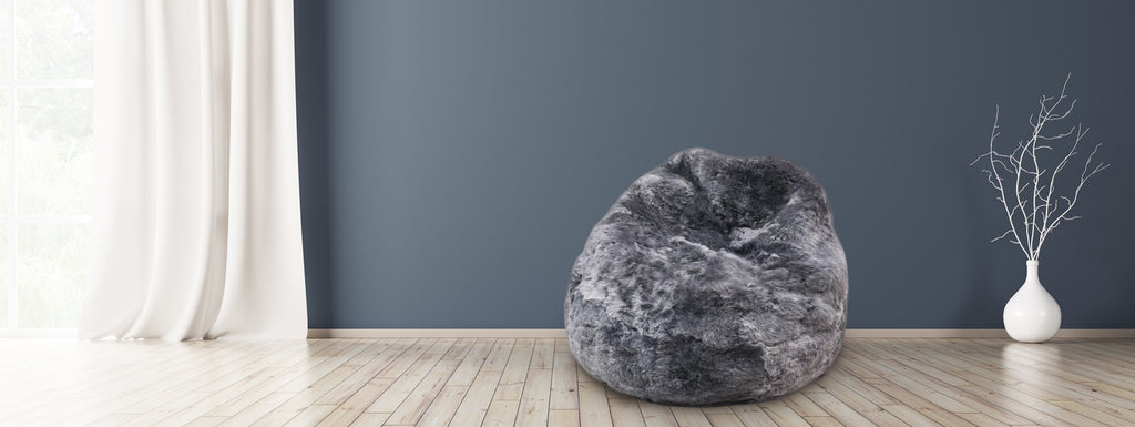 sheepskin beanbag chair grey