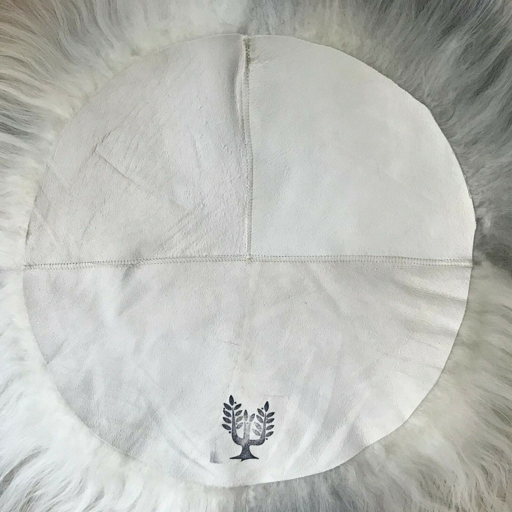 100% Genuine Real Sheepskin Seat Pad British Roundie 35cm Cream White Ivory UK - Wildash London