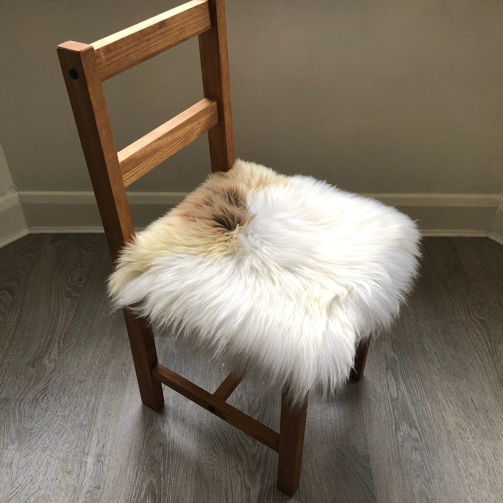 100% Genuine Real Sheepskin Seat Pad British Square 37cm Lights Cream / Browns - Wildash London