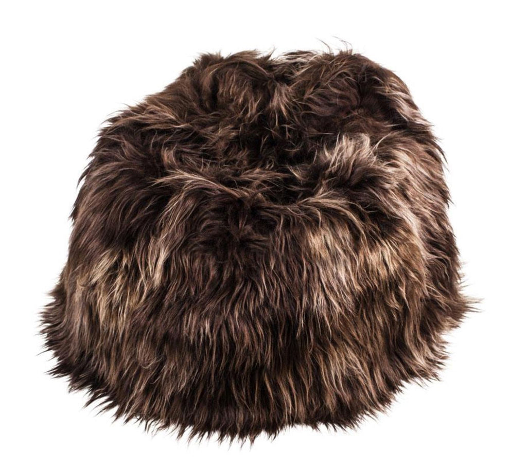 100% Icelandic Longhair Sheepskin Beanbag Chair Chestnut - Wildash London