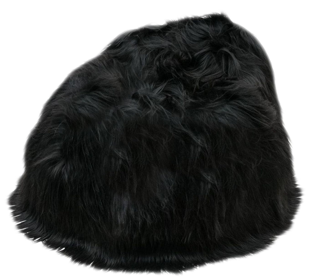 100% Icelandic Longhair Sheepskin Beanbag Chair Natural Black - Wildash London