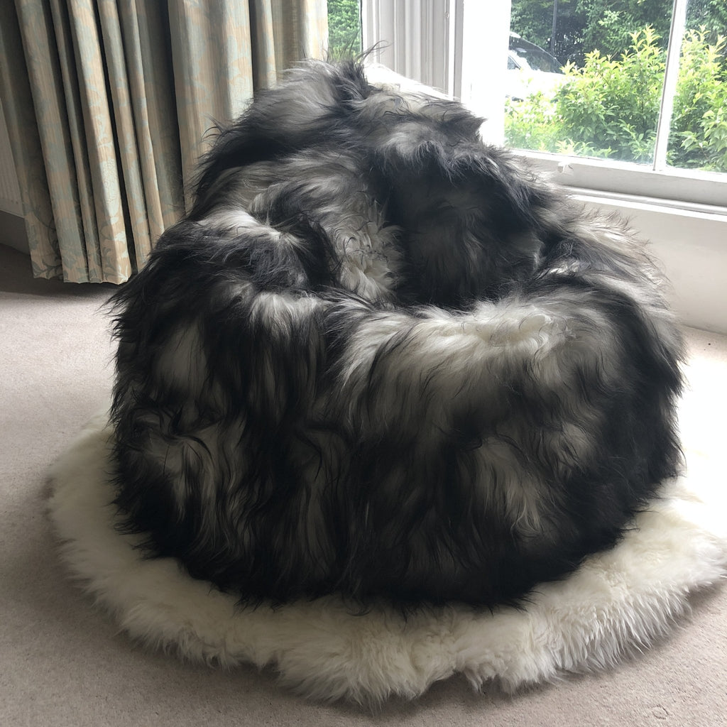 100% Icelandic Longhair Sheepskin Beanbag Chair Timberwolf - Wildash London