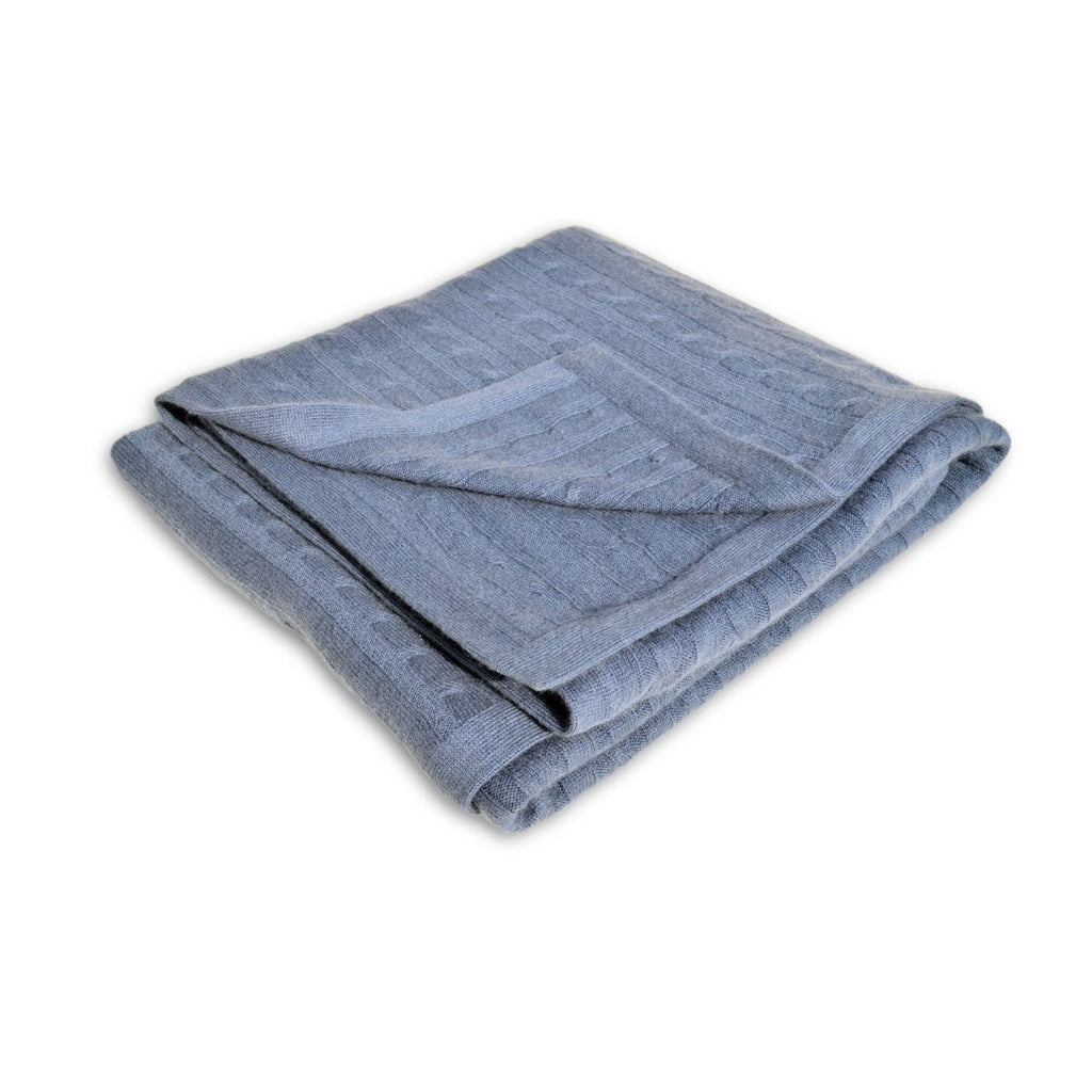 100% Pure Cashmere Throw in Heritage Cable Knit Highland Heather - Wildash London