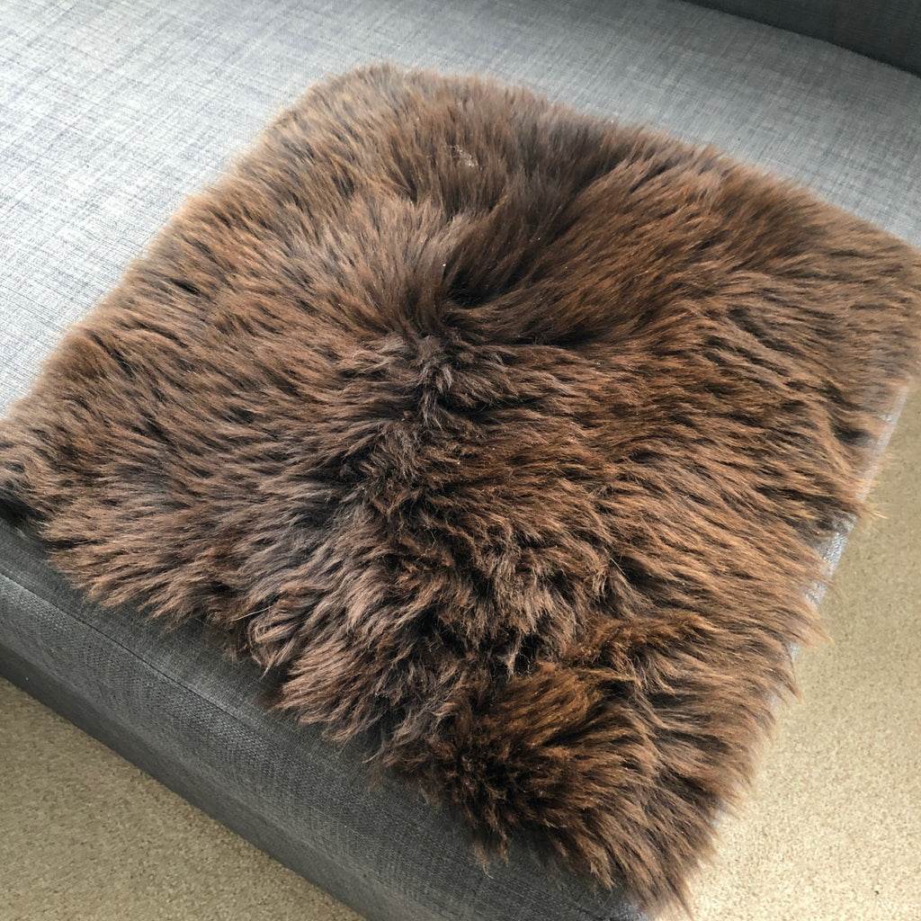 100% Real Eco Sheepskin Seat Pad British Square 37cm Natural Brown UK - Wildash London