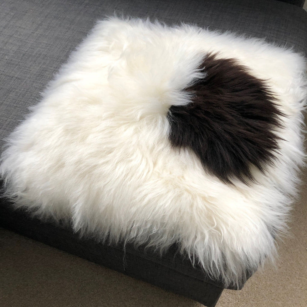 100% Real Sheepskin Seat Pad British Square 37cm White Cream Dark Brown - Wildash London