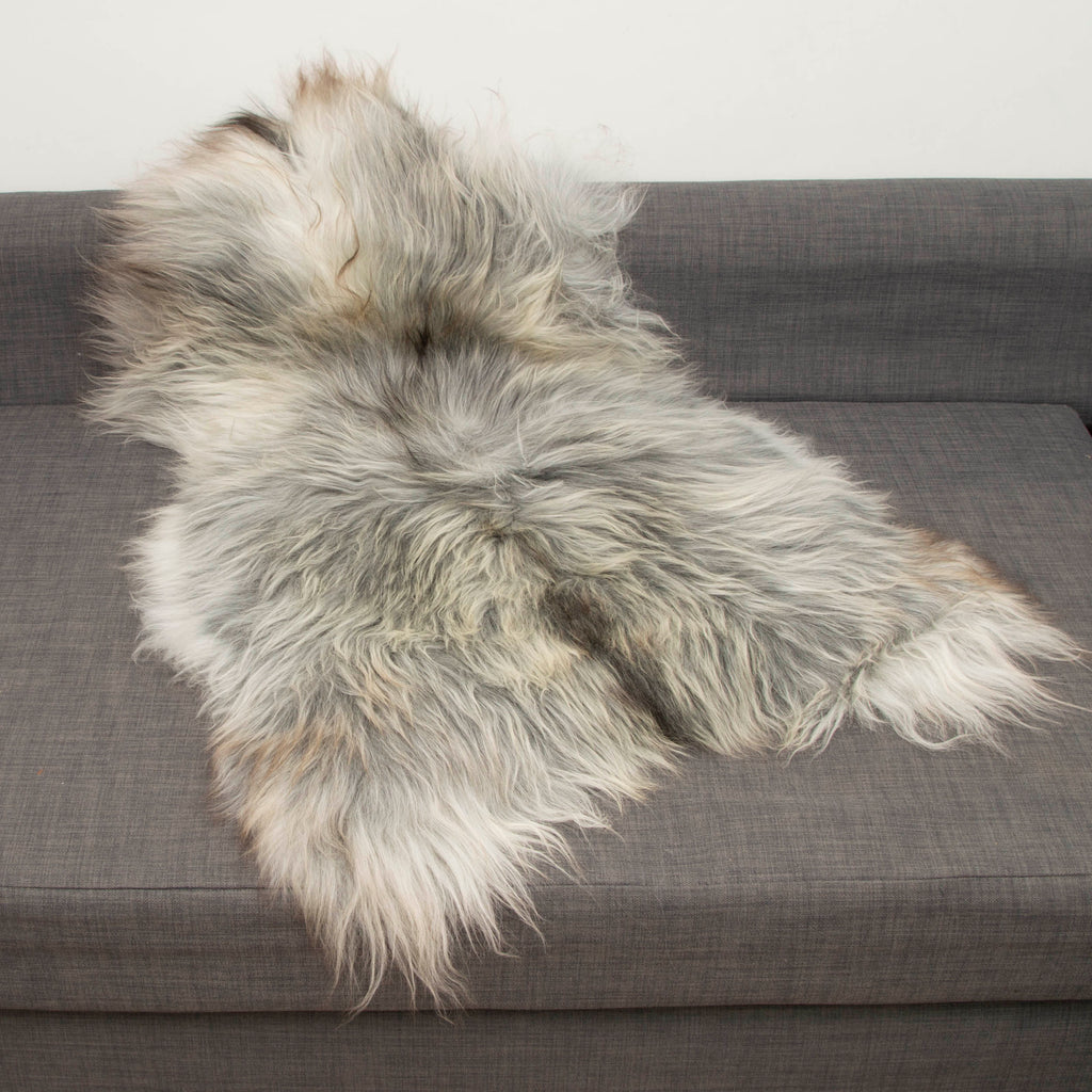XL Icelandic Natural Light Grey Undyed Sheepskin Unique Ecofriendly - Wildash London