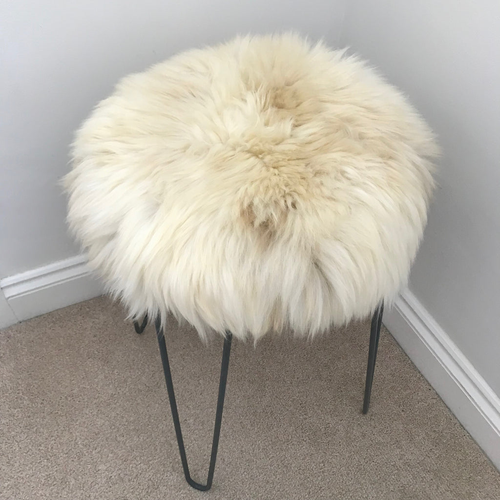 100% Genuine Real Sheepskin Seat Pad British Roundie 35cm Lights Cream / Browns - Wildash London